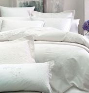 Monaco King Bed Sheet Set White by Linen House Embroidered Cotton 300 TC New