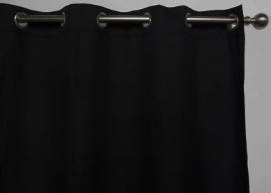 HARLOW Eyelet Blockout Ready Made Curtain 1x140x221cm Pitch Black Soft Drape