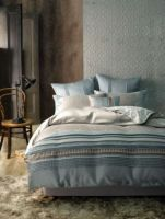 Queen Bed Pradesh Jade Bed Pack 6 piece set luxurious jacquard piping trim