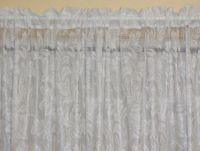 LACE CURTAIN 3 METRE X 213CM white REBECCA SCALLOPED SHEER FABRIC HEM
