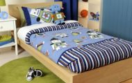 Double Doona Cover Set Robots blue stripe space age + Robots Novelty Cushion