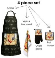 ROOSTER APRON GLOVE TEA TOWEL POT HOLDER KITCHEN SET New