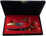 Professional Sewing Boxed Set 3 piece Scissor Set Gold / Chrome NEW