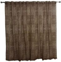 Sheer Concealed Tab Top Curtain LATTE PAIR 2x140x221cm with flocking design New