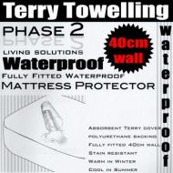 Waterproof Mattress Protector Terry Towelling FULLY FITTED 40cm Wall  5 Sizes Available