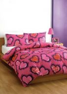 SINGLE BED quilt cover set pink girls bedding Funky Hearts