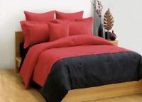 DECO King bed quilt cover set VALERY black red New