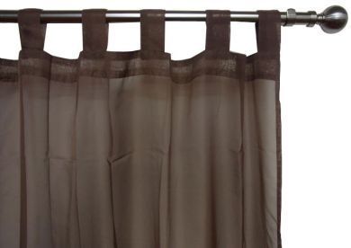 CHOCOLATE VOILE CURTAIN Tab Top 120x213cm New