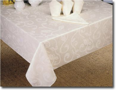 WHITE Table Cloth 145cm x 210cm OBLONG swirl SEATS 6-8 New