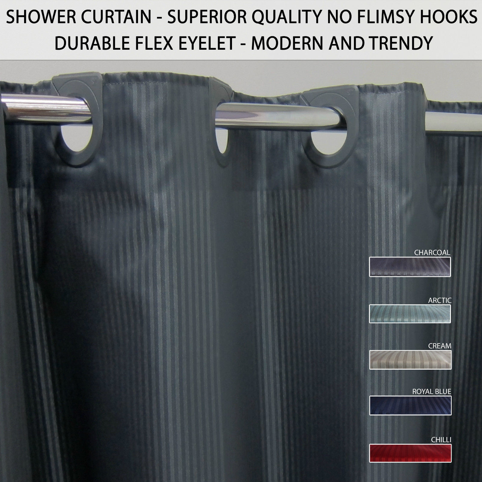 Shower Curtain 180x185cm Weighted Magnetic Corners