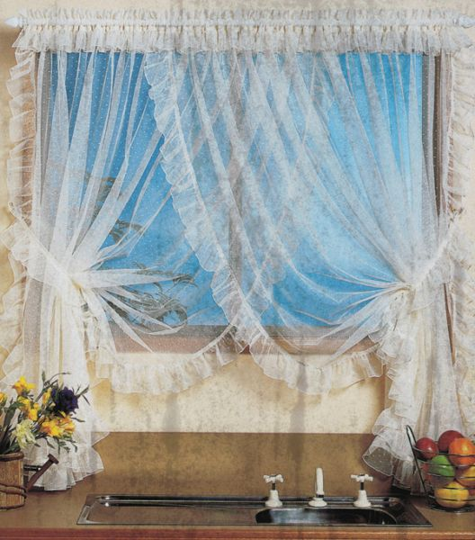 Lace Crossover Curtains   Kitchen Window Coverings