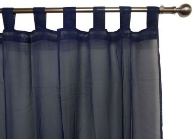 NAVY VOILE CURTAIN Tab Top 120x213cm New